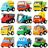 Pull Back Car,12 Pack Assorted Mini Plastic Construction Vehicle Set, Car TruckToyfor Kids, Boy, Girl, Child Birthday Party Favors, Goody Bag Giveaway, Prizes, Pinata Filler Supplie