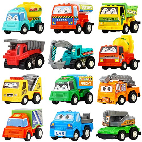 Pull Back Car,12 Pack Assorted Mini Plastic Construction Vehicle Set, Car Truck Toy for Kids, Boy, Girl, Child Birthday Party Favors, Goody Bag Giveaway, Prizes, Pinata Filler Supplie ()