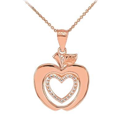 Amazon 14k rose gold apple heart charm pendant necklace 16 14k rose gold apple heart charm pendant necklace 16quot aloadofball Gallery