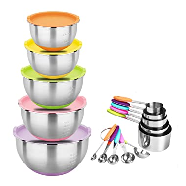 Zonegrace Stainless Steel Nesting Mixing Bowls with Lids and Measuring Cups Spoons Set, Non-Slip Silicone Bottom, for Mixing & Beating, Stackable Storage (1.5, 2.0, 3.0, 4.0, 5.0 qt)