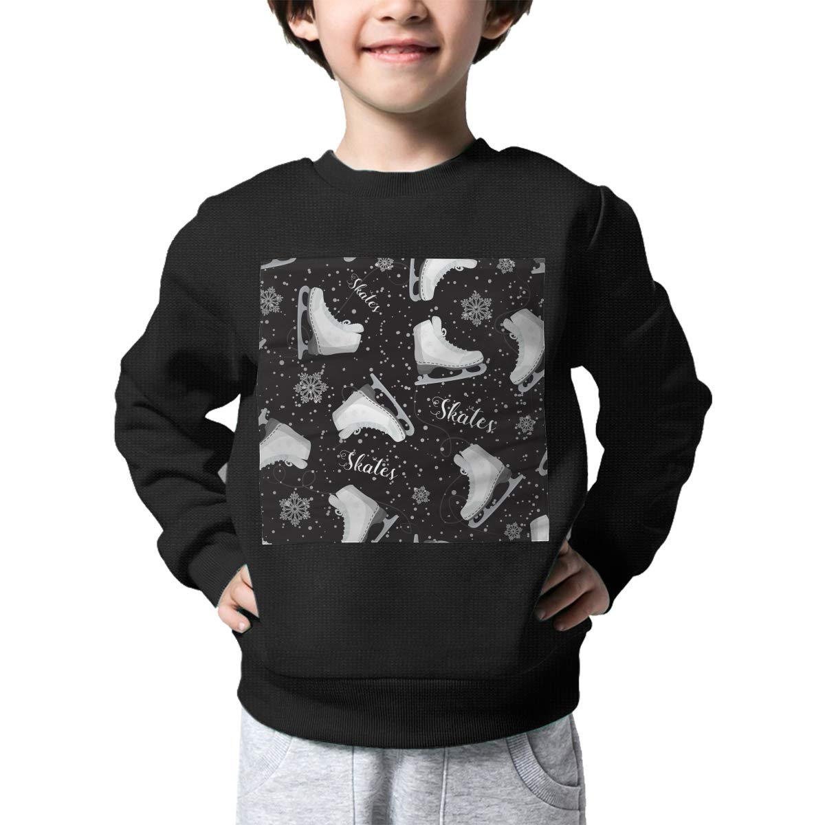 Skates On The Ice Pattern Printed Baby Girls Childrens Crew Neck Sweater Long Sleeve Warm Knitted Sweatshirt