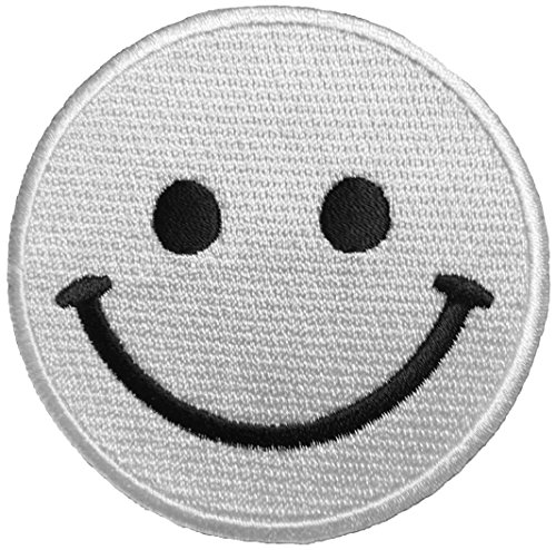 Papapatch Smiley Happy Face Smile Fun Logo Hippie Retro Jacket T-shirt Costume DIY Applique Embroidered Sew Iron on Patch - White (IRON-SMILEY-WH)