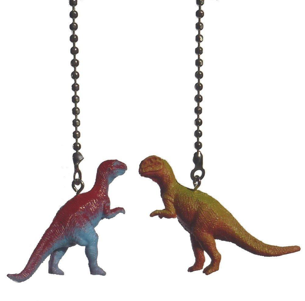 DINOSAUR Ceiling FAN PULL Light chain extender Dino Themed Children Bedroom Décor - Set of TWO (Tyrannosaurus Rex & Dilophosaurus)