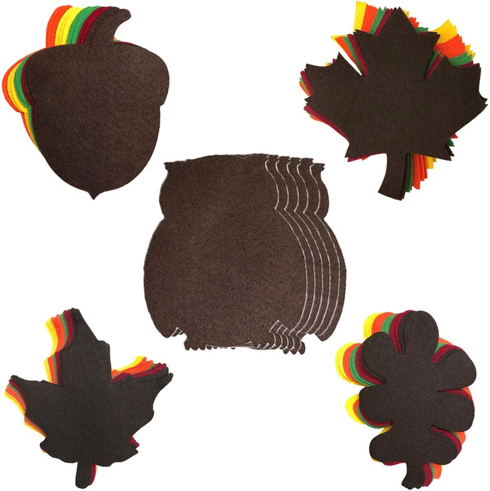 Harvest Seasonal Holiday Felt Shapes - Fall Cut-Outs for Arts and Crafts or Party Supply Decorations - 60 Piece Set