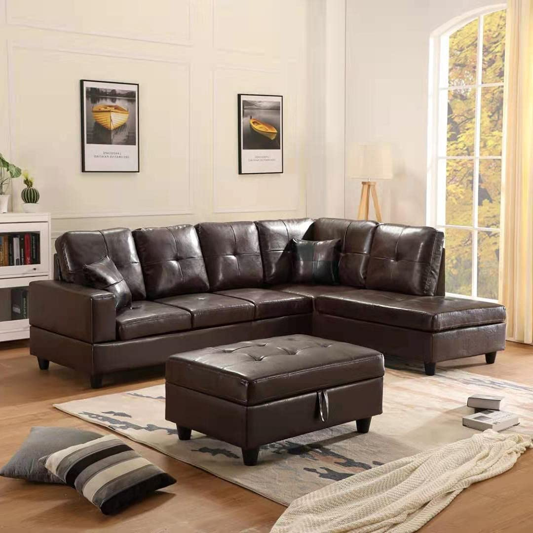 GAOPAN 2021 Sectional Faux Leather Tufted Cushions Living Room, 5 Seats Sofa Couch with Reversible Right Chaise Lounge and Storage Ottoman,Retro Brown