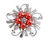 クリスタル 花 ブローチ パーティー 結婚式 アクセサリー さん,赤 使い安い