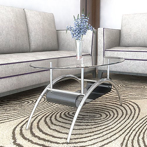 Ryan Rove Cleveland Oval Glass Coffee Table - Modern Home Decor with Black Mesh Magazine Storage Rack - Furniture for Living Room, Bedroom and Office - Center or Side Tables for Sofa - Silver Frame