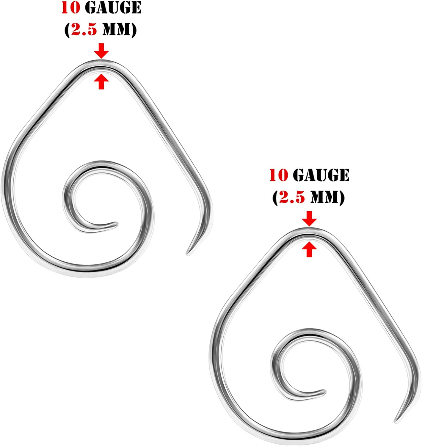 BIG GAUGES 2 Pairs 316L Surgical Steel Curved Taper Expander Piercing Jewelry Ear Stretching Earring O-Rings Plugs Lobe