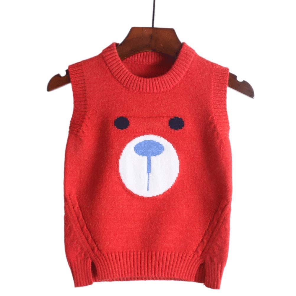 Maglia Maglione Per Bambini Maglia Maglia In Lana Con Cappuccio Bambino Per Ragazze E Ragazzi Autunno 2018 New-Red Bear, 90Cm MAJIA