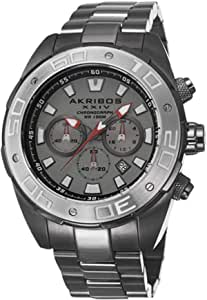 Akribos XXIV Conqueror Men's Gray Dial Stainless Steel Band Watch - AK656GN, Analog, Quartz