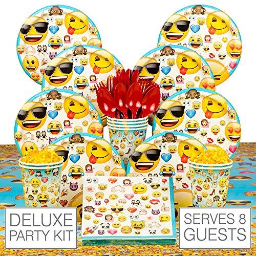 Emoji Deluxe Birthday Party Tableware Kit (Serves 8) ()