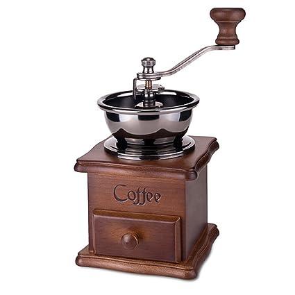 AOLVO Molinillo de café Manual, Molinillo de Madera Estilo Vintage, Molinillo de Grano de