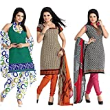 BanoRani Womens PolyCotton Printed MultiColor Free Size UnStitched Dress Material (Combo of 3)