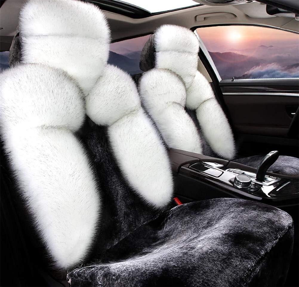 カーシートカバーセット、ユニバーサルシープスキンロングウールカーシートクッションカバー(カラー:ホワイト)   B07T4HCSCP