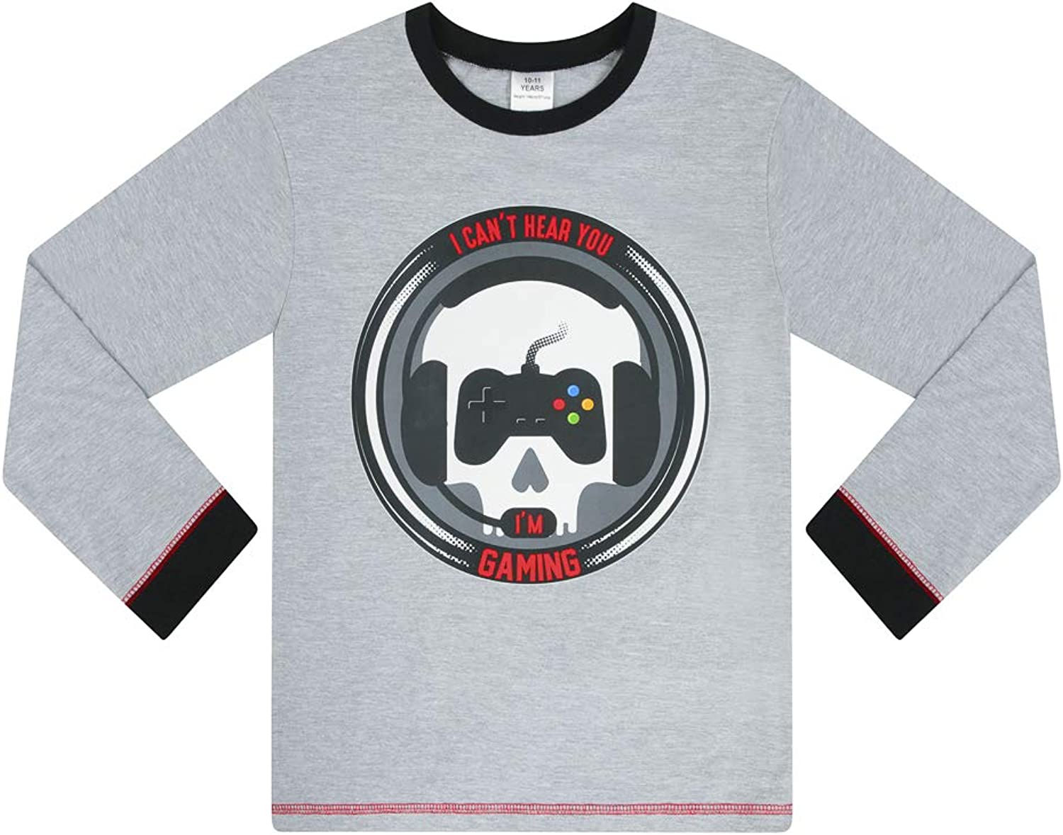 Boys I Cant Hear You Im Gaming Skull Red Grey Long Pyjamas 9 to 15 Years