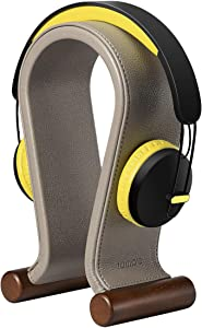 Headphone Stand,SAMDI Leather Gaming Headphone Stand,Omega Shape for Most Headphones,Leather,Stable and Compact(Brownness)