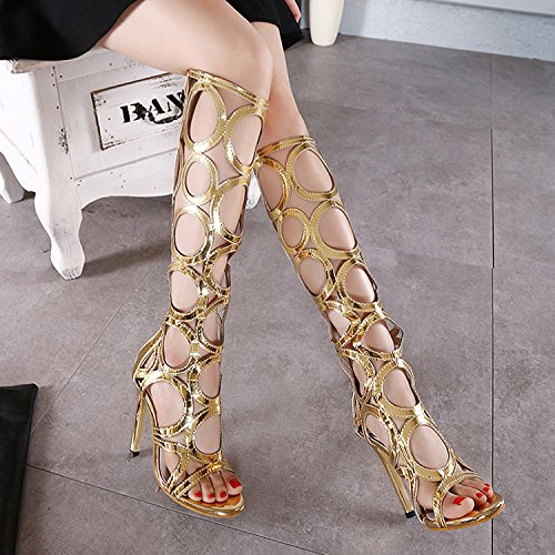 ZHZNVX The new summer female boots exposed long boots fine with high barrel sandals high-heel-and-toe boots are cool Golden Ylsf26B