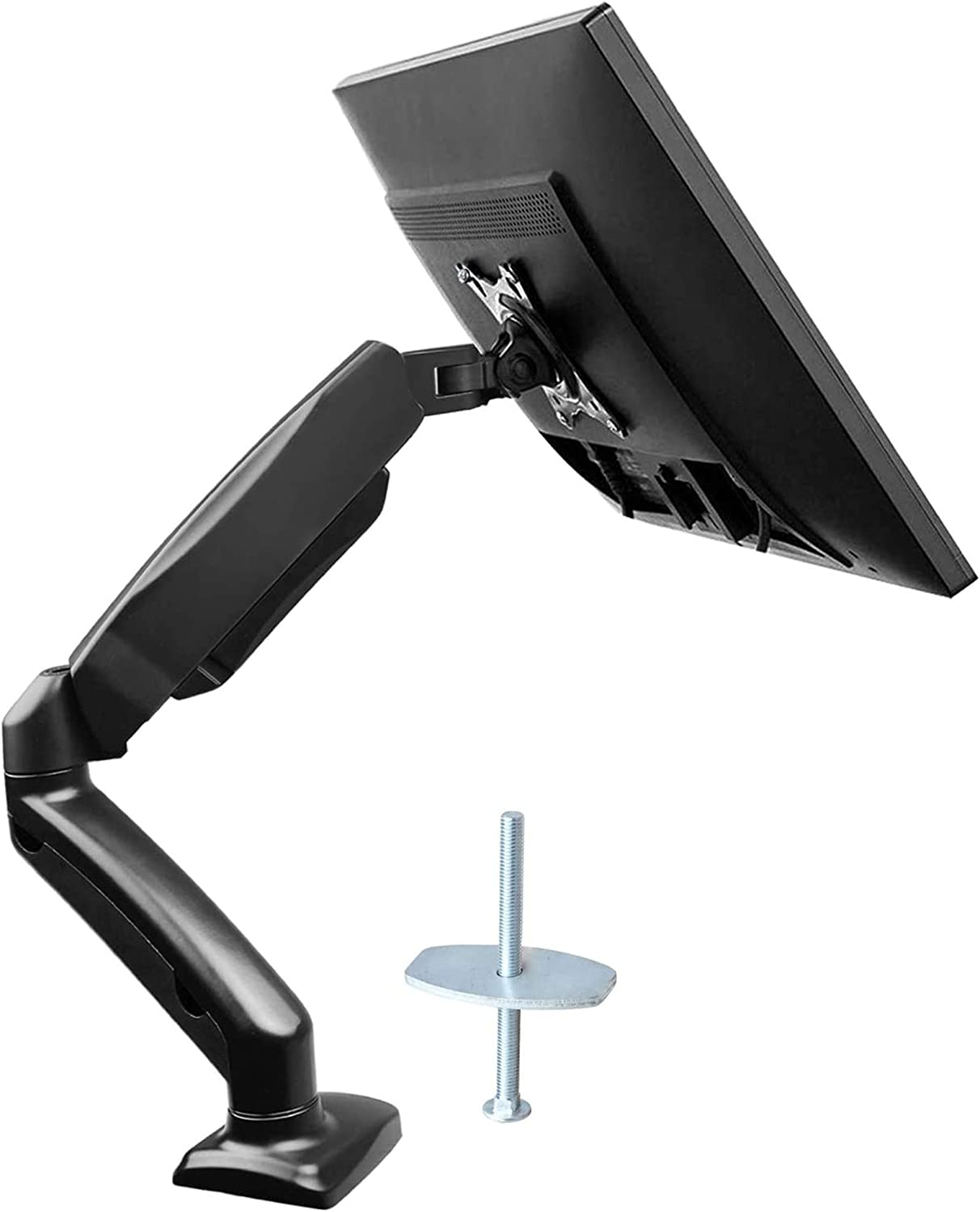 Grommet Mounting Base Single Monitor Stand Gas Spring Single Arm Monitor Stand Desk VESA Mount for 13 to 32 Inch Screen with Clamp