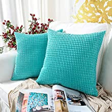 MERNETTE Pack of 2, Corduroy Soft Decorative Square Throw Pillow Cover Cushion Covers Pillowcase, Home Decor Decorations for Sofa Couch Bed Chair 16x16 Inch/40x40 cm (Granules Turquoise)