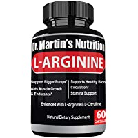 Extra Strength L Arginine 1340mg Nitric Oxide Supplements | for Muscle Growth, Increase Energy & Endurance & Boost Heart Health (60 Count)