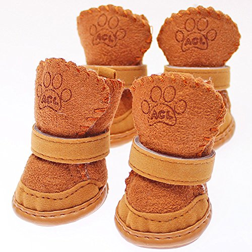 4pcs Pet Boots Socks Medium Dog Waterproof Rain Shoes Non-slip Rubber Puppy (Black) (M) - 3