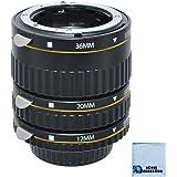Auto Focus Macro Extension Tube Set for Nikon D5500 D810 D750 D300 D300S D600 D700 D800 D800E D3000 D3100 D3200 D5000 D5100 D5200 D5300 D7000 D7100 DSLR Camera & eCostConnection Microfiber Cloth