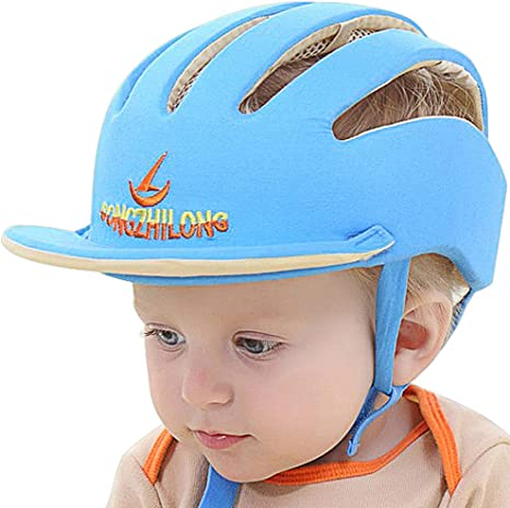 Nellmo Baby Helmet Toddler Protective Hat Infant Head Protective Cotton Hat Blue