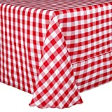 Ultimate Textile 132 x 132-Inch Square Polyester Checkered Tablecloth Red and White
