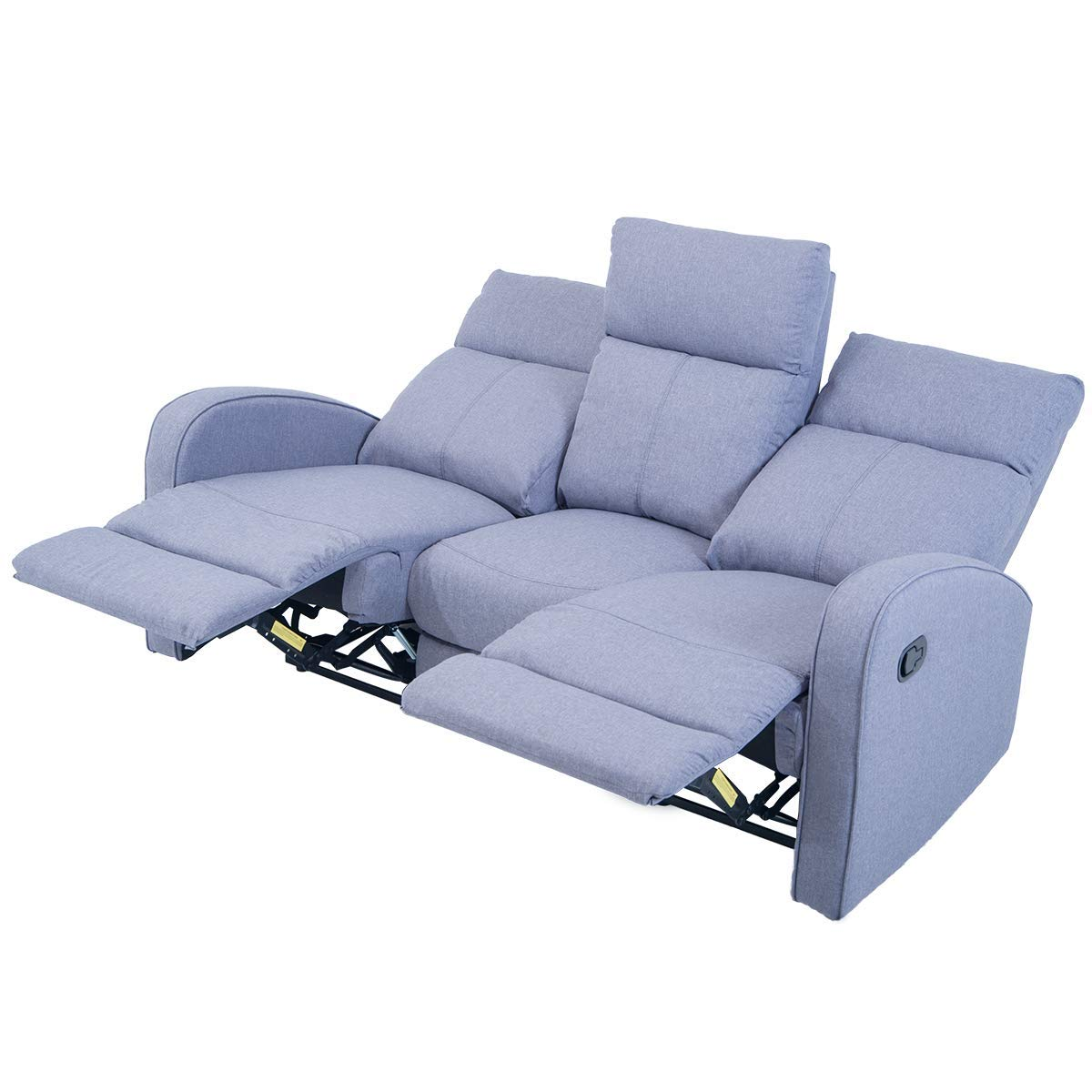 Harper Bright Designs Sofa Grey Fabric Reclining Chair Living Room Sectional Furniture Three Seater