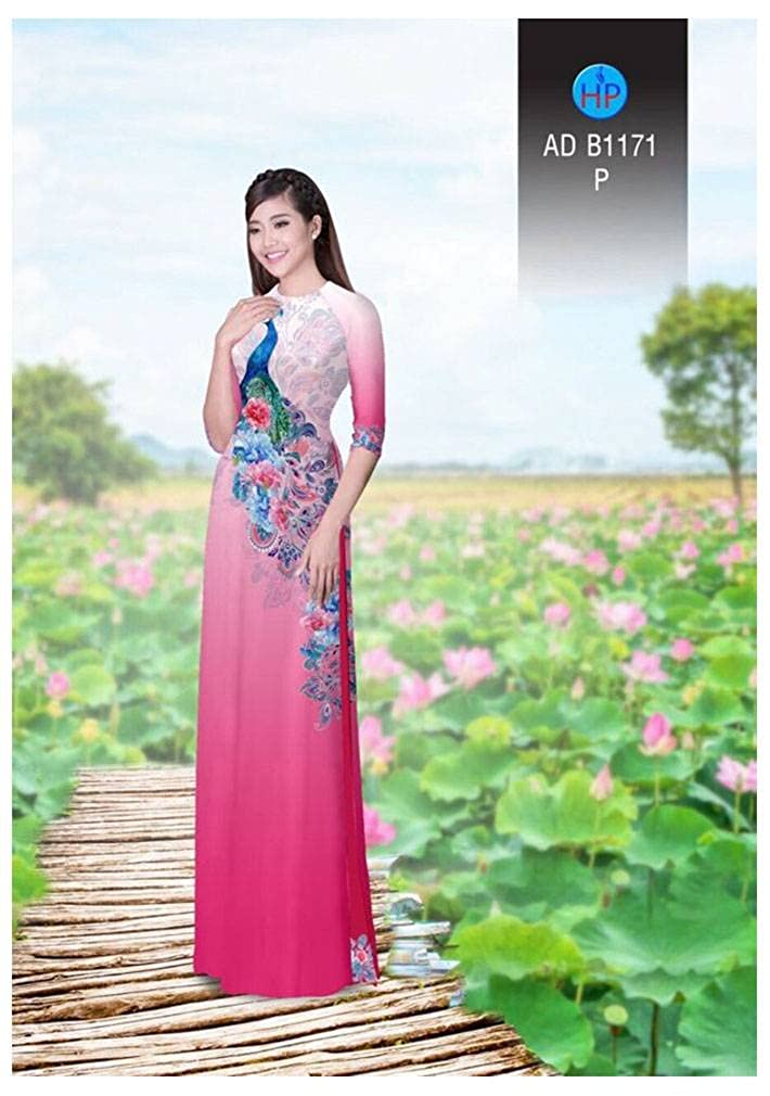 Ao Dai ADVN00875 Traditional Vietnamese Long Dress Collections with Pants Silk 3D All Size