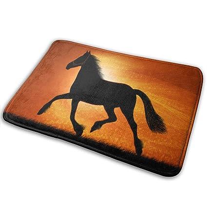 """Horses Animal With Black Bathroom Rug Non-Slip Floor Door Mat Flannel 16x24/"""""""