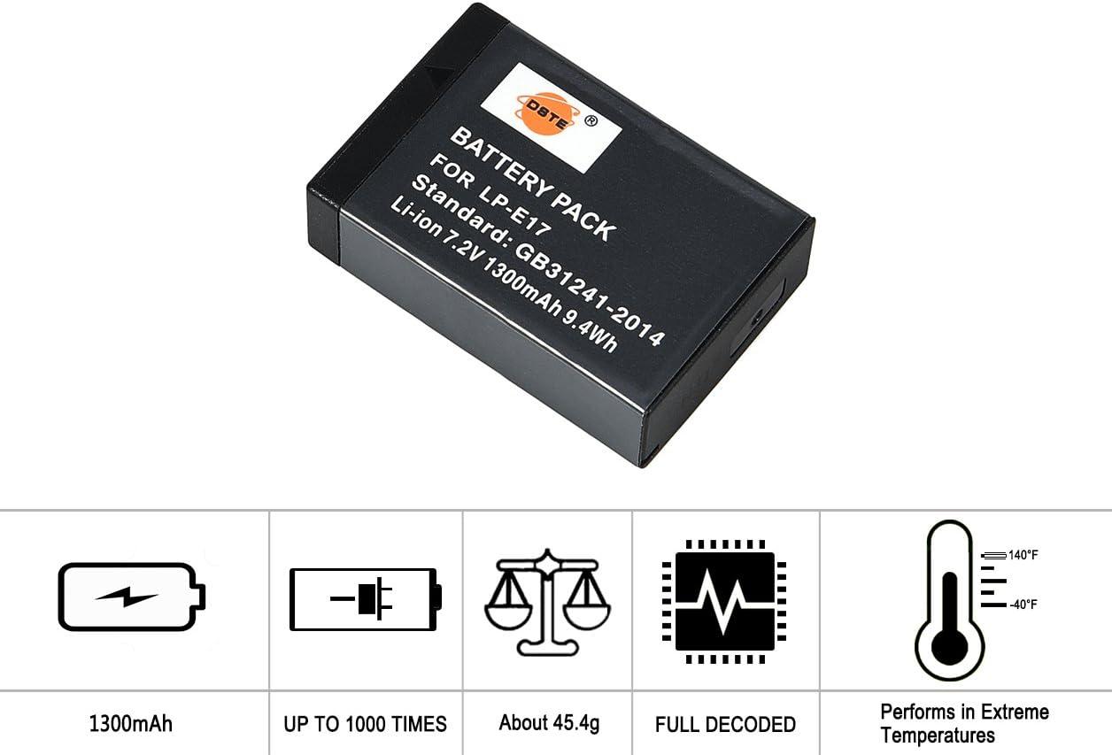 USB Dual Cargador/Compatible para/Canon EOSRP C/ámara DSTE/® Vertical Empu/ñadura de bater/ía 2X LP-E17 Bater/ía