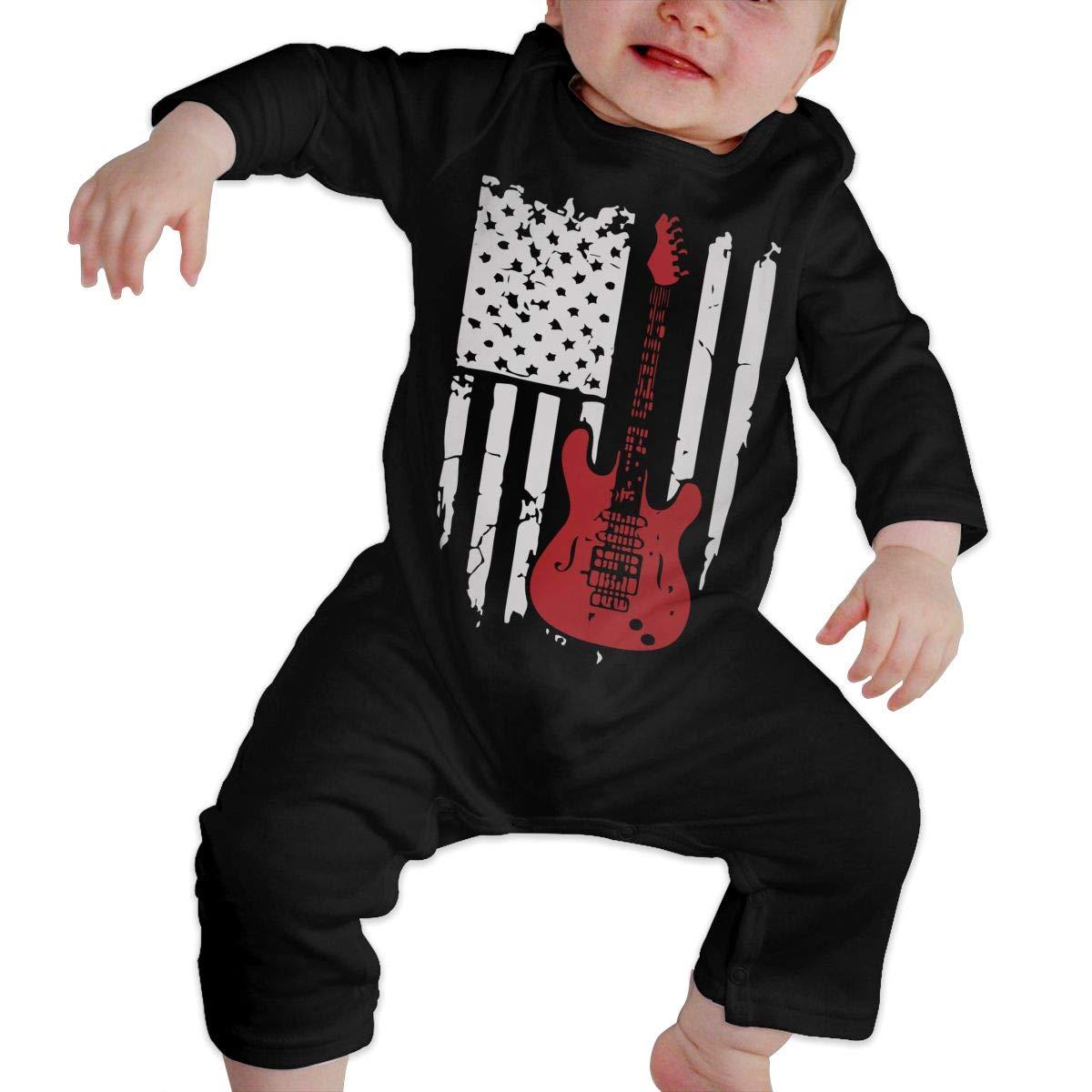 UGFGF-S3 American Flag Guitar Guitarists Baby Boy Long Sleeve Romper Jumpsuit Bodysuits