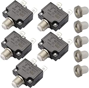 T Tocas 5pcs Push Button Reset 20A Circuit Breakers with Quick Connect Terminals Waterproof Button DC50V AC125-250V
