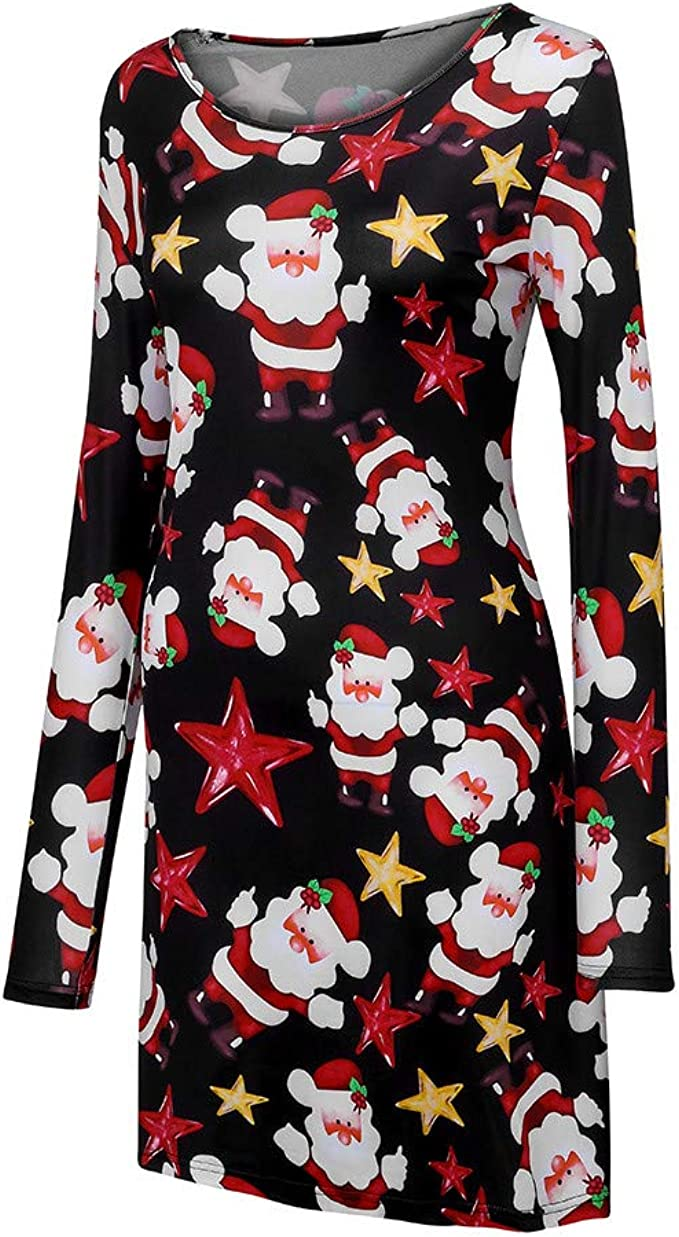 PASATO 2018 New!Women Xmas Christmas Dress Long Sleeve Santa Outfit Christmas Cozy Flared Dress