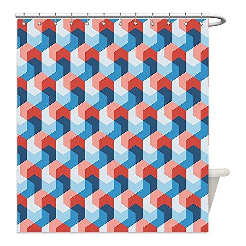 Trippy Turtle Costume (Liguo88 Custom Waterproof Bathroom Shower Curtain Polyester Fractal Decor Mosaic Style Hexagonal Mirroring Geometric Shape Creative Trippy Pattern Design Blue Red Decorative bathroom)