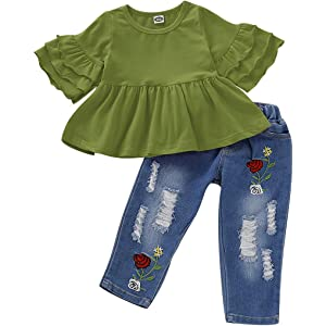 Kid Baby Girl Winter Warm Outfit Clothes Ruffle Tops Denim Pants 2Pcs Outfit Hot