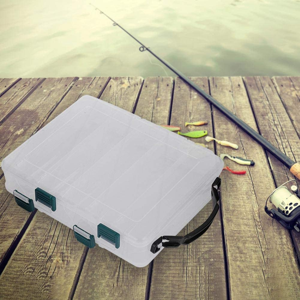 Double Side Plastic Fishing Baits Box Lures Holder Case Large Capacity Accessory for Fishing Lovers 10 Slots Vikye Lure Box
