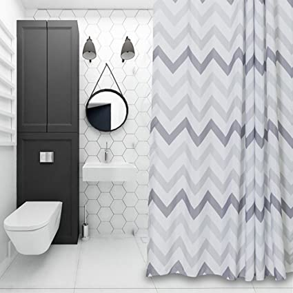 Exceptionnel Chevron Fabric Shower Curtain Grey,White,Striped Mold Resistant 72u0026quot; X  72u0026quot;
