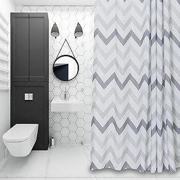 Chevron Fabric Shower Curtain Grey,White,Striped Mold Resistant 72u0026quot; X  72u0026quot;