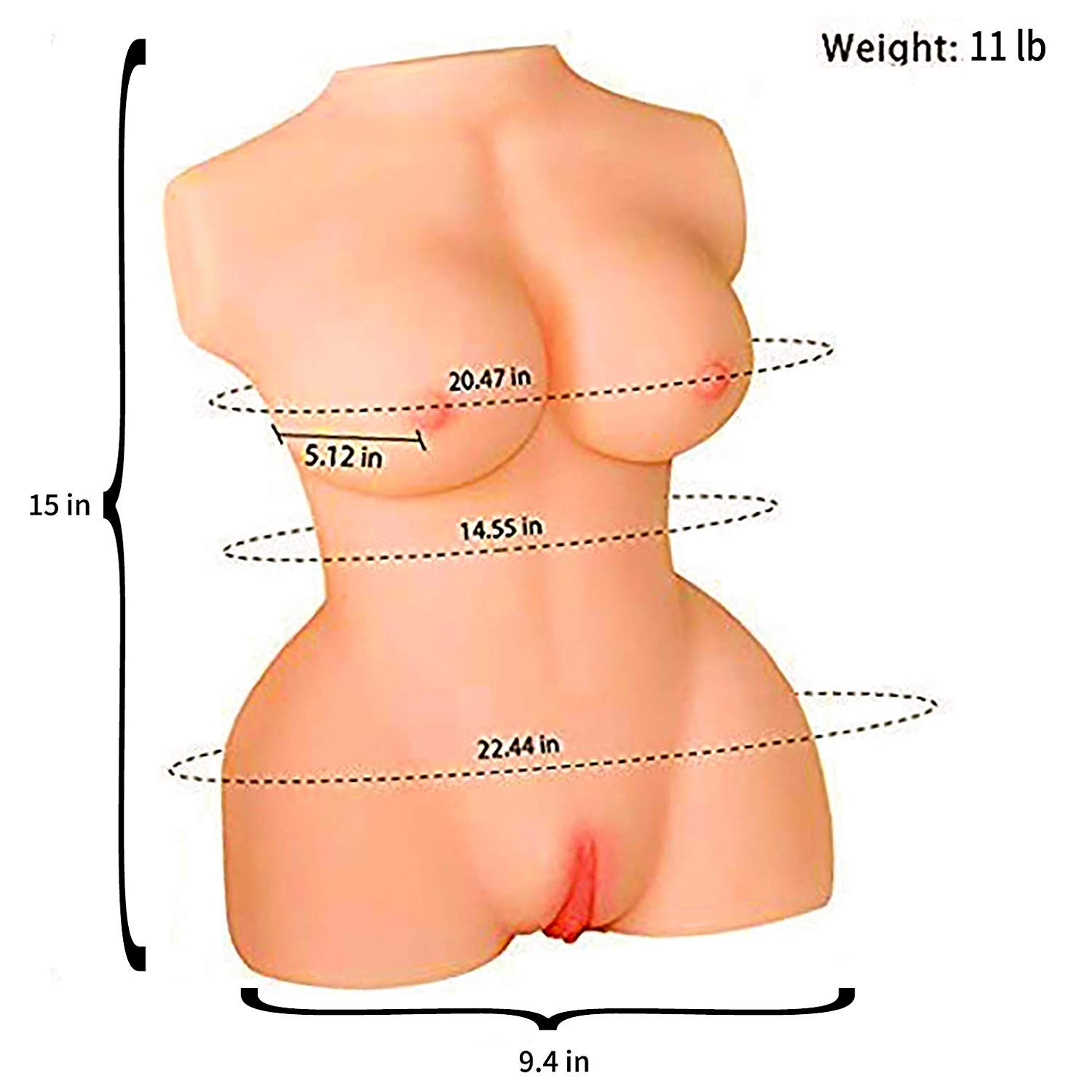 Movitip Sex Doll Male Masturbator Pocket Pussy Female Love Doll Torso with Tight Vagina Anal, 3D Lifelike Real Love Doll Torso with Metal Skeleton, Soft Ass Adult Sex Toy (15x9.4x5.1 Inches.11 lb) by Movitip