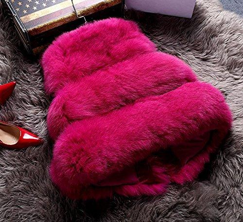 Fox LaoZan Sleeveless Rose Vest Fur Coat Jacket Waistcoat Chic Womens Short Faux EZw1Zr