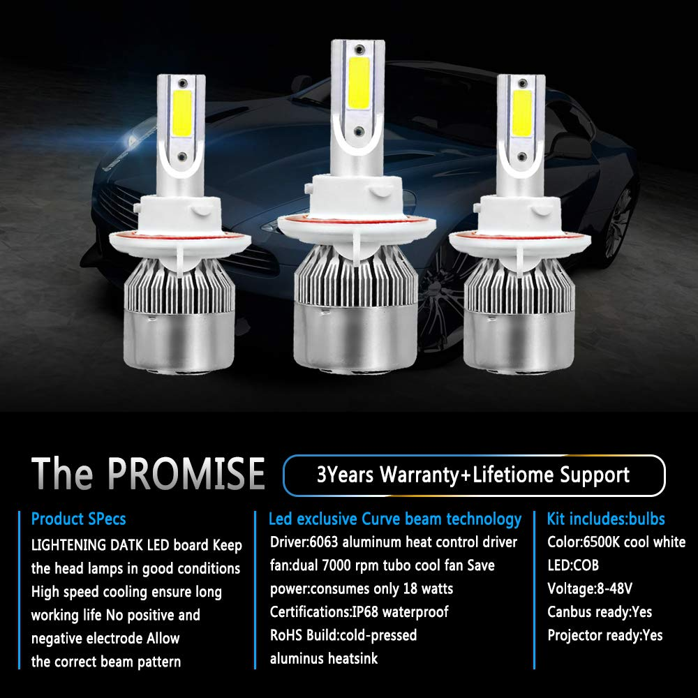 Pair HB5 9007 COB Chip LED Headlight Conversion Kit White Bulb Lamp 6000K 600W