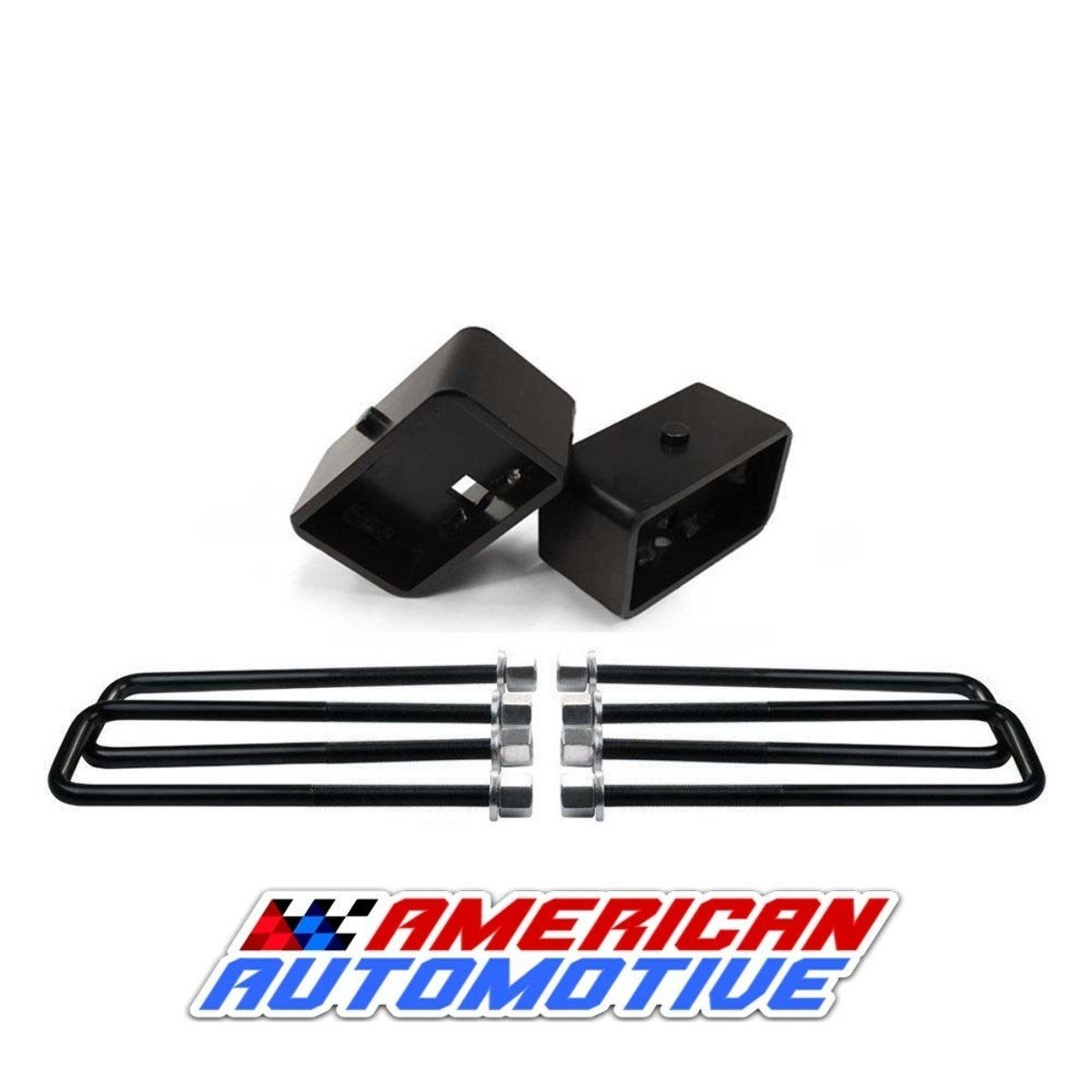 American Automotive 3' Rear Suspension Lift Steel Blocks + Extra Long 12' Square Leaf Spring Axle U Bolts