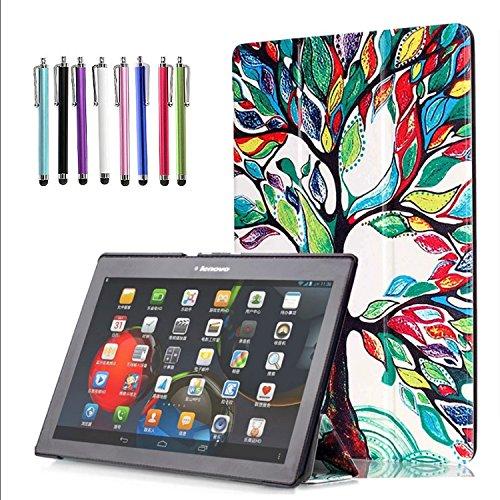 Lenovo TAB-X103F Tab 10/Tab 2 A10 Case, EpicGadget(TM) Slim Tri-Fold Case Cover with Auto Wake/Sleep for Lenovo TB3-X70F Tab 10/Tab2 A10-30/Tab2 A10-70/Tab 3 10 Business Tablet (Love Tree) (Protective 2 Tablet Lenovo Case)