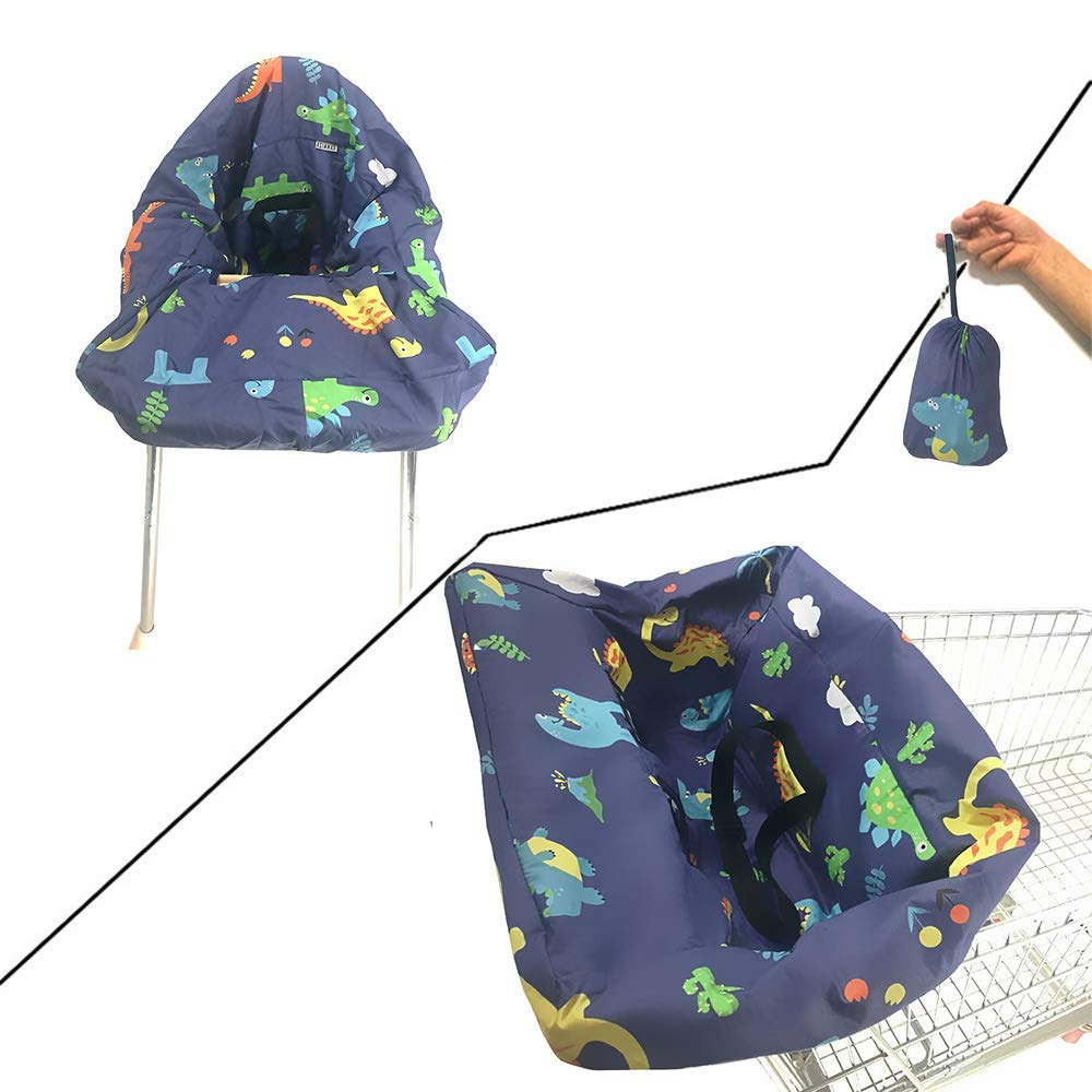 High Chair Cover for Baby Standard Size 2-in-1 Shopping Cart Cover with Safty Harness Black Triangles