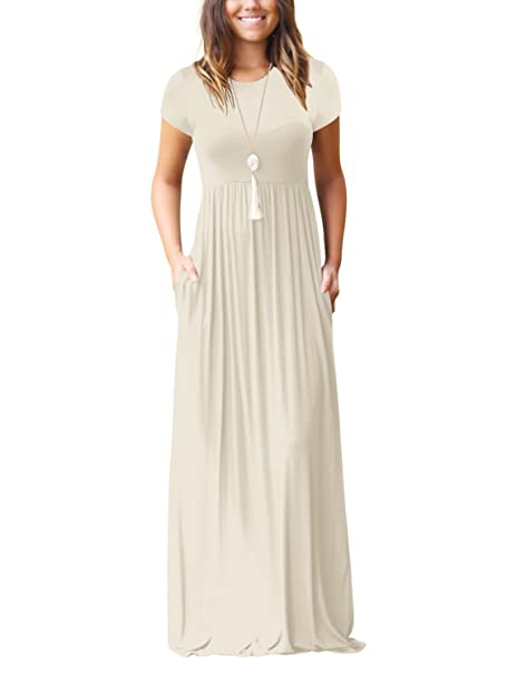 SUNJIN ARCO Women s Short Sleeve Maxi Dress with Pockets Loose Plain Casual  Floor Length Long Dresses cfb6b52d2