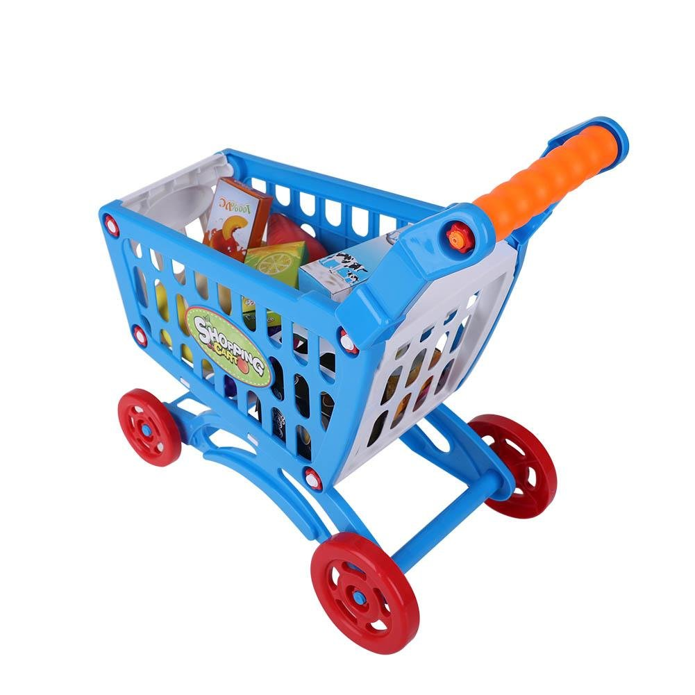 Kids Plastic Shopping Cart, Toddlers Pretend Play Supermarket Kids Market Stall Shop Shopping Cart with Fruit and Vegetables Groceries Playing House Learning Toys(Blue with Food)