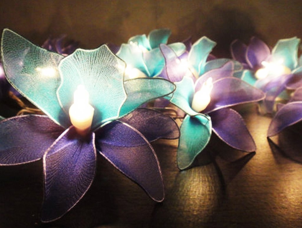 GaanZaLive36 Thai Handmade 20 Romantic Orchid Handmade Flower Fairy String Lights Patio Wedding Party Vanity Kid Wall Lamp Floral Home Decor 3m (Purple)