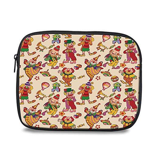 Circus Decor Durable iPad Bag,Cartoon Circus Patterns Comedian Musical Toy Pleasure Hot Air Balloon for iPad,10.6